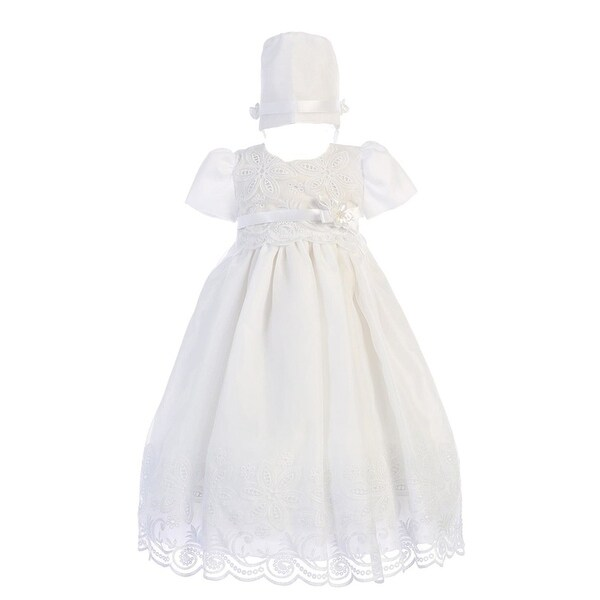 Baby Girls White Embroidered Organza Dress Bonnet Christening Set 0-18M - 6-12 months