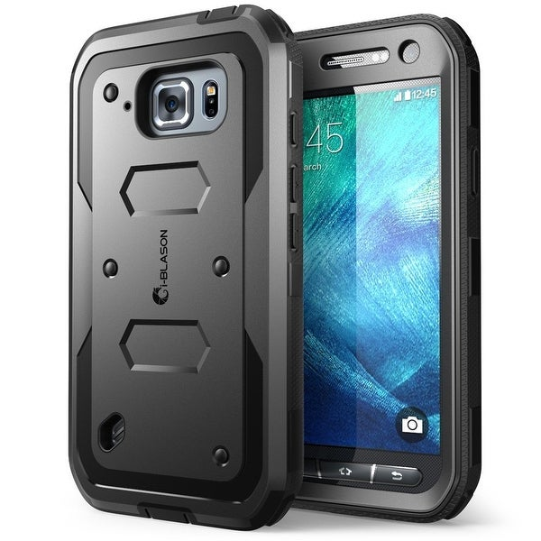 Galaxy S6 Active Case, i-Blason Armorbox,Full-body Protective Case with Front Cover and Built-in Screen Protector-Black