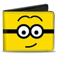 Center Hair Part Minion Yellow Black White Bi Fold Wallet - One Size Fits most