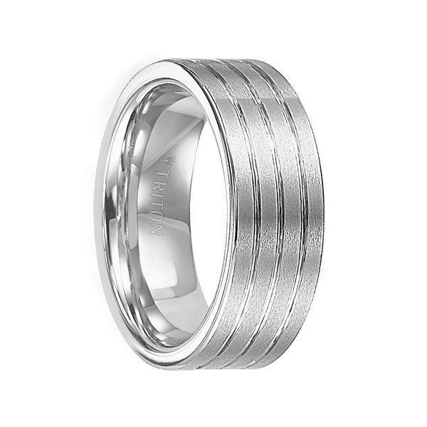 GARRET Flat Tungsten   Wedding Band with Brushed Finish and Polish Grooves by Triton Rings - 8 mm