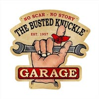 Past Time Signs  Busted Knuckle Garage Automotive Custom Metal Shape