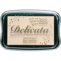 Delicata Pigment Ink Pad-White Shimmer