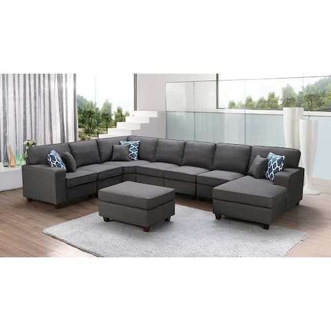 Irma Dark Grey Linen 8-piece Modular Sectional Sofa and Ottoman