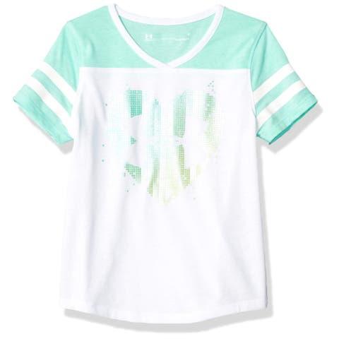 Under Armour Baby Girls Shirt Green White Size 4T Logo Heart Raglan Striped 163