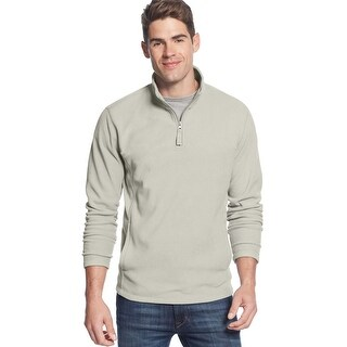 Club Room Quarter Zip Fleece Mockneck Sweatshirt Silver Combo X-Large