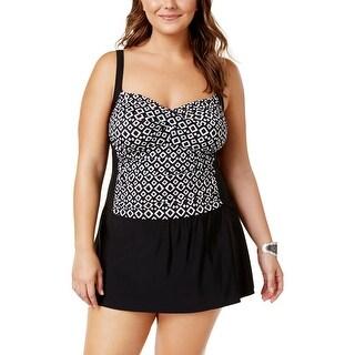 Swim Solutions Womens Plus Double Diamond Print Twist-Front Swimdress - 24W