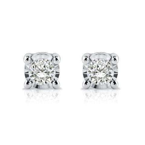 Auriya 1/10ctw Round Diamond Stud Earrings Sterling Silver - White