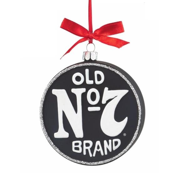 "Department 56 Jack Daniel's ""No 7"" Glass Disc Christmas Ornament #4051395 - black"