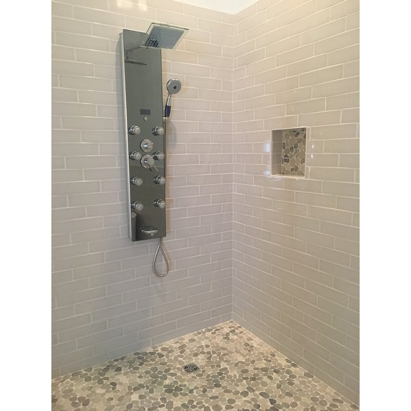Shop AKDY 52-inch Mirror Aluminum Shower Panel with Tower Massage ...