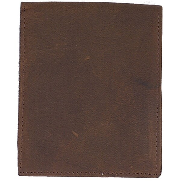 3D Wallet Mens Bifold Distressed Leather ID Window Brown - One size