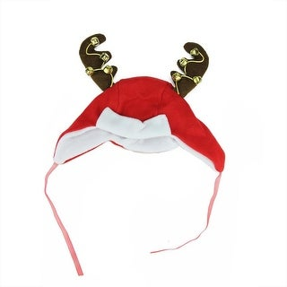 "17"" Plush Red and White Christmas Winter Trapper Hat with Jingle Bell Reindeer Antlers"