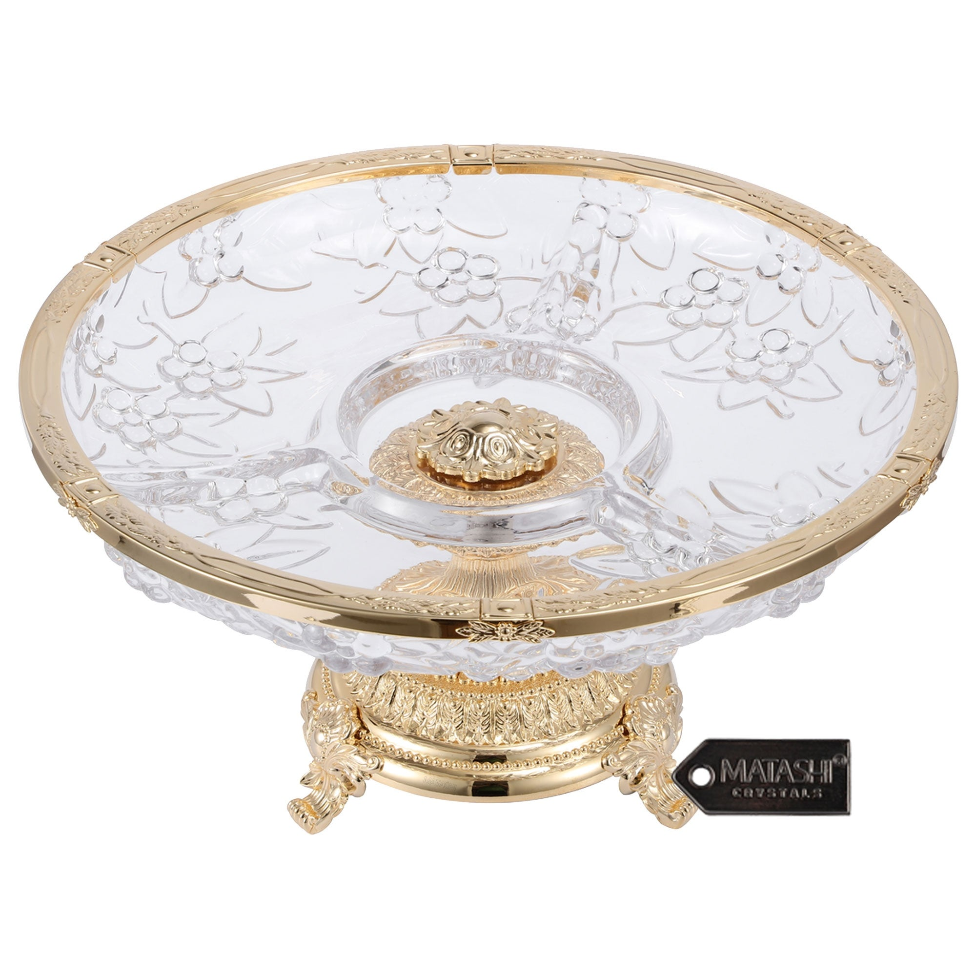 Matashi 3 Sectional Centerpiece Decorative Bowl Round Serving Platter W 24k Gold Plated Pedestal Base For Weddings Parties Overstock 32531033