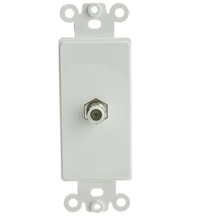 Offex Decora Wall Plate Insert, White, F-pin Coaxial Coupler, F-Pin Female