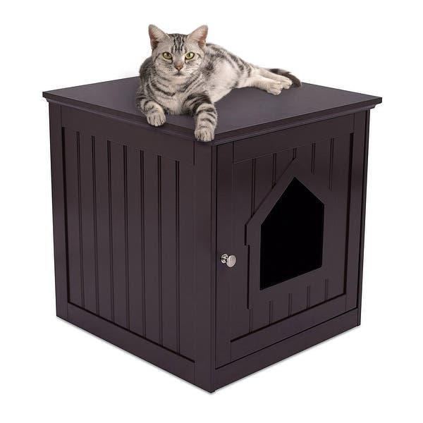 Internet S Best Decorative Cat House Side Table Cat Home Nightstand Indoor Pet Crate Litter Box Enclosure Espresso Overstock 20816563