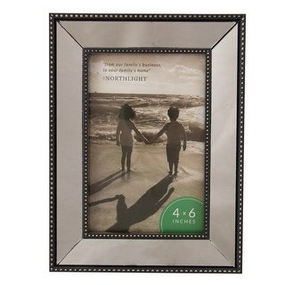 """8"""" Black Contemporary Rectangular Mirrored Picture Frame for 6"""" x 4"""" Photo - 4-inchx6-inch"""
