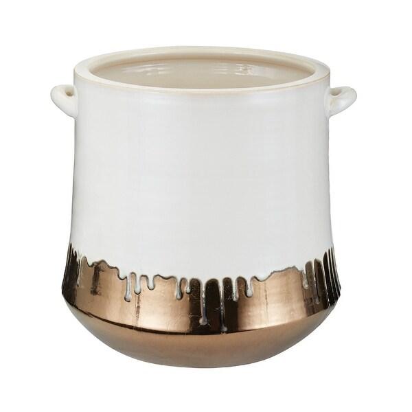 "13"" White and Bronze Crock Vase - N/A"