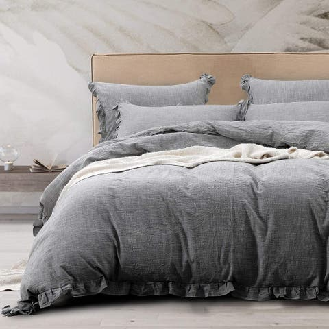NTBAY Super Soft Cozy Solid Color Ruffle Design King & Queen Size 3 Piece Linen Duvet Cover Set Breathable and Wrinkle Resistant