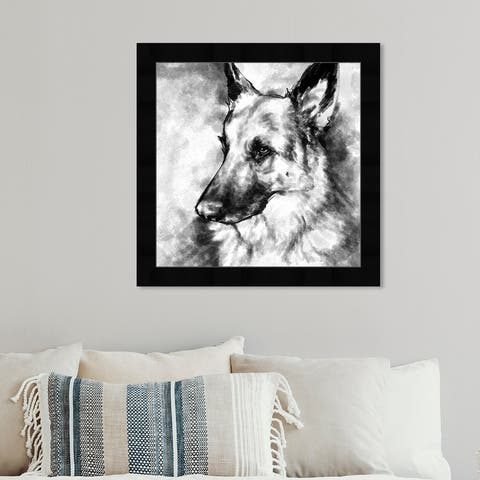 Oliver Gal 'German Shepherd' Animals Framed Wall Art Prints Dogs and Puppies - Black, White