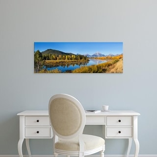 Easy Art Prints Panoramic Image 'trees on water, Oxbow Bend, Grand Teton National Park, Wyoming' Canvas Art