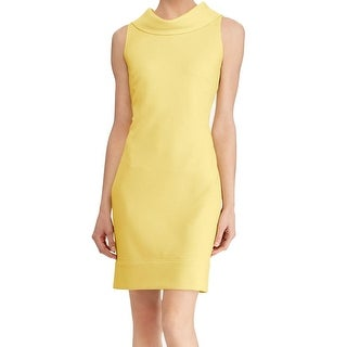 American Living NEW Yellow Womens 16 Textured Cowl-Neck Sheath Dress