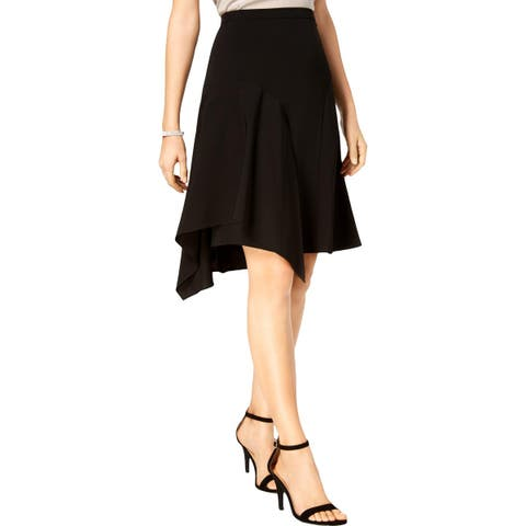 Pisarro Nights Womens Petites A-Line Skirt Sharkbite Hem Knee-Length