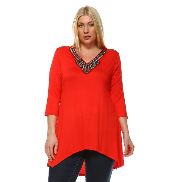5b74fdd8d4 Shop Plus Size Tonya Tunic Top - Red - On Sale - Free Shipping On ...