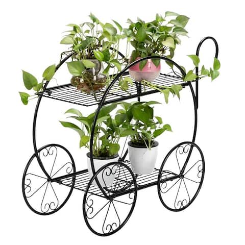 Modan 2-tier Handle Cart Shape Black Iron Plant Stand by Havenside Home