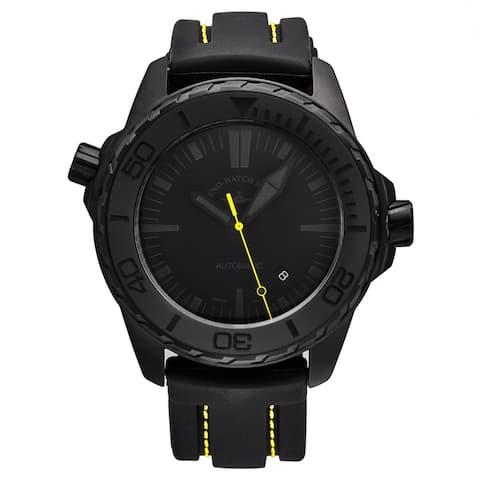 Zeno Men's 6603-BK-I19 'Divers' Black Dial Black/Yellow Rubber Strap Automatic Watch