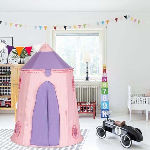 Kids Playhouse Cotton Yurt Tent With Small Colorful Flags Pink