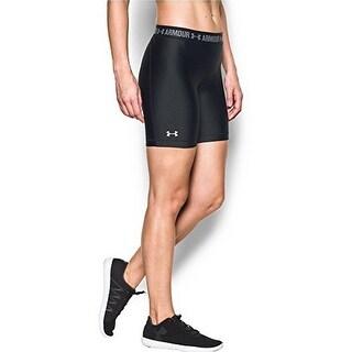 Under Armour Womens UA HG Armour Long Short, Black /Black /Metallic Silver, XS