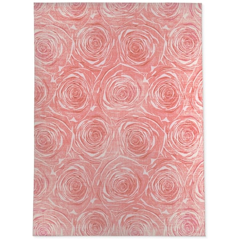 BED of ROSES PINK FLAT DESTRESSED Area Rug by Kavka Designs