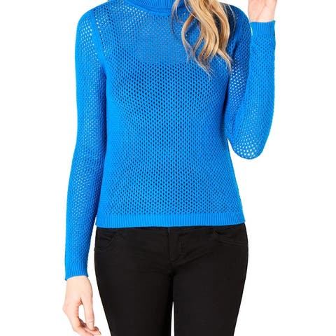 Bar Iii Perforated Pullover Turtleneck Sweater Beacon Blue