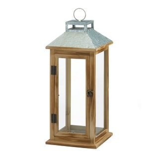 Galvanized Metal & Wood Lantern - Brown