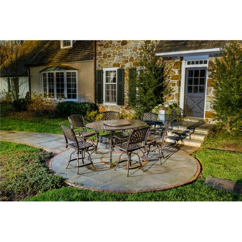 """Westbury Duo Cast Aluminum 7 Piece Balcony Height Set with 70""""x50"""" Oval table and 6 Swivel Gathering Height Arm Chairs"""