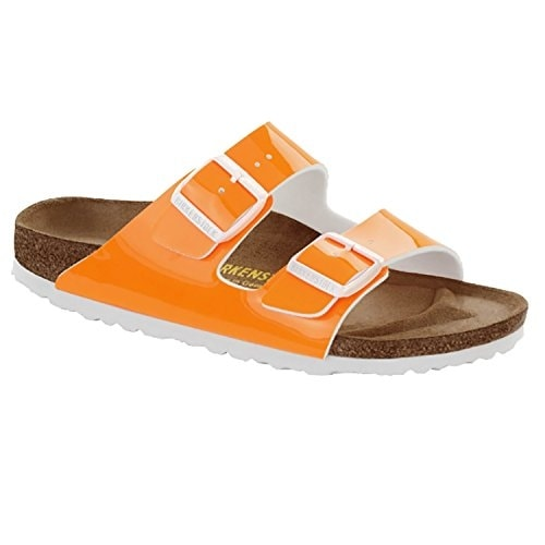 Birkenstock Women's Arizona Neon Orange Patent Birko-Flor¿ Sandal