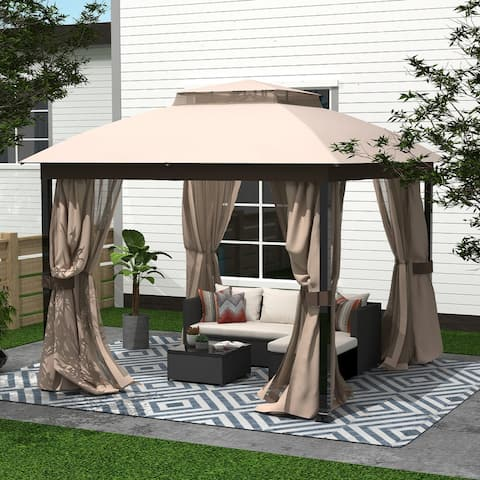 Amarantos Gazebo with Mosquito Netting Outdoor Gazbeo Canopy 10x10 Double Roof Vented