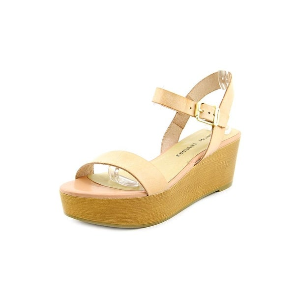 Chinese Laundry Grand Prize Women Open Toe Leather Tan Wedge Sandal