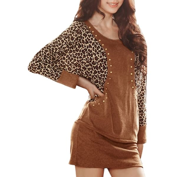 29637d69523519 Allegra K Women Leopard Prints Studded Batwing Sleeves Mini Bodycon Dress
