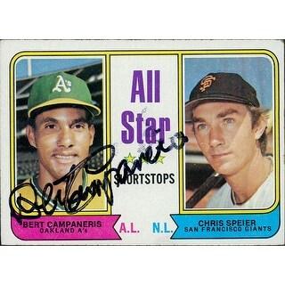 Signed Campaneris Bert Oakland Athletics Tops Baseball Card Light smudging of the signature autogra