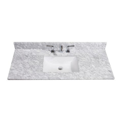 Altair Design Oristano 49 in. Natural Marble Vanity Top with White Sink