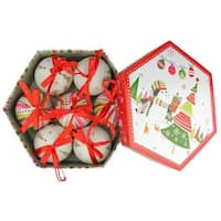 2.75 in. Decoupage Shatterproof Christmas Ball Ornament Set