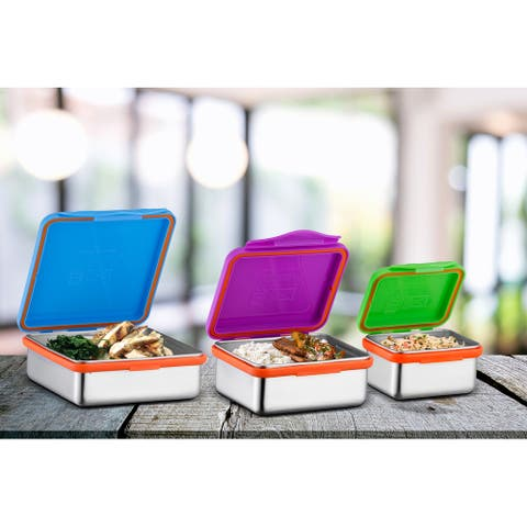 Stainless Steel Food Containers with Snapping Seal Leak-proof Lids - Multi-Color - Stainless Steel Food Containers
