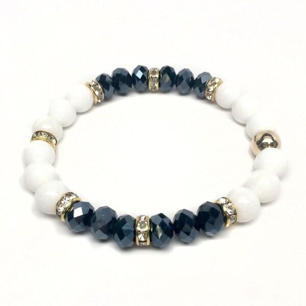 White Jade & Black Crystal 'Posh' stretch bracelet 14k Over Sterling Silver