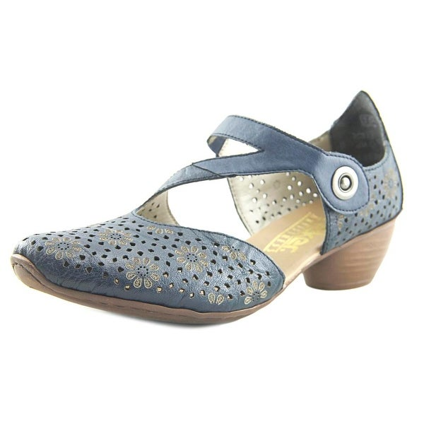 Rieker Mirjam Perforated Pump Women Round Toe Leather Blue Mary Janes