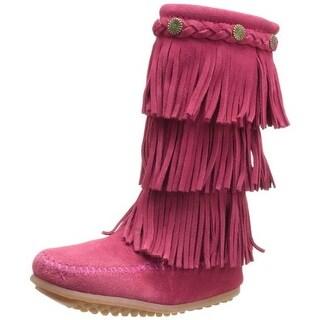 Minnetonka Girls Leather Moccasin Boots - 3 medium (b,m)