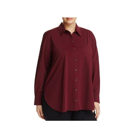 Lysse Womens Plus Schiffer Button-Down Top Collared Work Wear