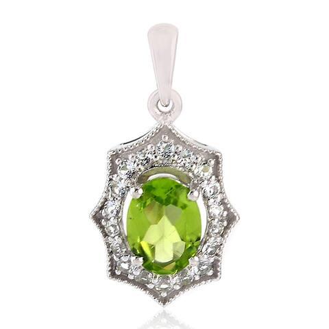 Peridot Topaz Designer Pendant 925 Sterling Silver Handmade Jewelry With Free Jewelry Box