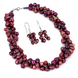 Sterling Silver Purple Freshwater Pearl Beaded Necklace and Earring Set