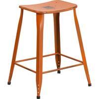 "Brimmes 24"" High Metal Counter Stool Distressed Orange, Backless, Saddle"