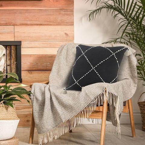Black and White Geometric Tasseled Throw Pillow